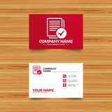 Text file sign icon. Check File document symbol. Business card template. Text file sign icon. Check File document symbol. Phone, globe and pointer icons Stock Image