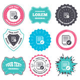 Text file sign icon. Check File document symbol. Label and badge templates. Text file sign icon. Check File document symbol. Retro style banners, emblems Stock Images