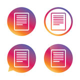 Text file sign icon. File document symbol. Royalty Free Stock Photo