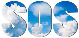 Text filled with blue sky and big clouds Stock Photos
