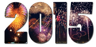 Text filled with fireworks Stock Images