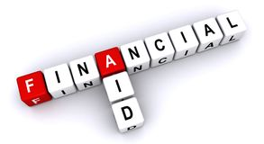"Financial aid. Text ""financial aid"" inscribed in uppercase letters on small cubes arranged crossword style with common letter ""a"", white background Royalty Free Stock Photo"