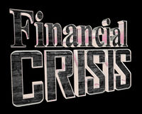 Text the financial crisis on a black background. 3d rendering. Text the financial crisis on a black background Royalty Free Stock Photography