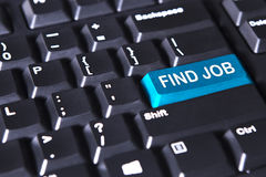 Text of find job on the blue button Stock Photography