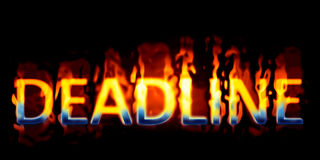Text on fire. An image of the word deadline on fire Royalty Free Stock Images