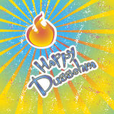 Text and fire. Postcard for holiday in India. Happy Dussehra Stock Photography