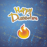 Text and fire. Postcard for holiday in India. Happy Dussehra Royalty Free Stock Image