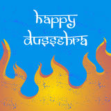 Text and fire. Postcard for holiday in India. Happy Dussehra Royalty Free Stock Photos