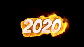 2020. text on fire. word in fire. high turbulence. Text in flames. Fire word.
