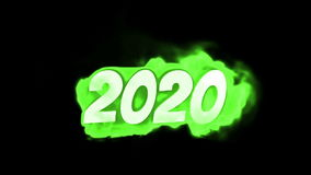 2020. text on fire. word in fire. high turbulence. Text in flames. Fire word. stock video footage