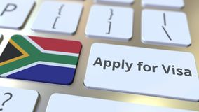 APPLY FOR VISA text and flag of South Africa on the buttons on the computer keyboard. Conceptual 3D rendering. Text and flag on the buttons on the computer vector illustration