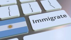 IMMIGRATE text and flag of Argentina on the buttons on the computer keyboard. Conceptual 3D animation. Text and flag on the buttons on the computer keyboard stock footage