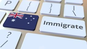 IMMIGRATE text and flag of Australia on the buttons on the computer keyboard. Conceptual 3D animation. Text and flag on the buttons on the computer keyboard stock video