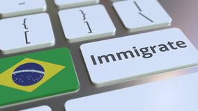 IMMIGRATE text and flag of Brazil on the buttons on the computer keyboard. Conceptual 3D animation. Text and flag on the buttons on the computer keyboard stock video