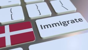 IMMIGRATE text and flag of Denmark on the buttons on the computer keyboard. Conceptual 3D animation. Text and flag on the buttons on the computer keyboard stock footage