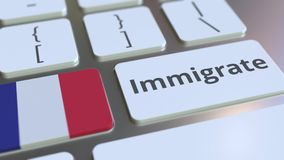 IMMIGRATE text and flag of France on the buttons on the computer keyboard. Conceptual 3D animation. Text and flag on the buttons on the computer keyboard stock footage