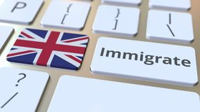 IMMIGRATE text and flag of Great Britain on the buttons on the computer keyboard. Conceptual 3D animation. Text and flag on the buttons on the computer keyboard stock footage