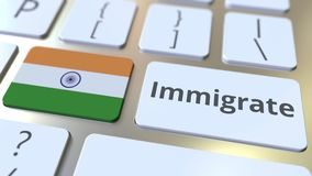 IMMIGRATE text and flag of India on the buttons on the computer keyboard. Conceptual 3D animation. Text and flag on the buttons on the computer keyboard stock video