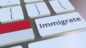 IMMIGRATE text and flag of Indonesia on the buttons on the computer keyboard. Conceptual 3D animation. Text and flag on the buttons on the computer keyboard stock footage
