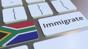 IMMIGRATE text and flag of South Africa on the buttons on the computer keyboard. Conceptual 3D rendering. Text and flag on the buttons on the computer keyboard royalty free illustration
