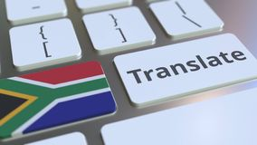 TRANSLATE text and flag of South Africa on the buttons on the computer keyboard. Conceptual 3D rendering. Text and flag on the buttons on the computer keyboard vector illustration