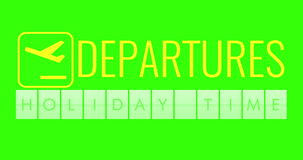 Text flip of board of airport billboard departures with words name holiday time on chroma key green screen, travel stock video