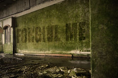 Text forgive me on the dirty wall in an abandoned ruined house. Text forgive me on the dirty old wall in an abandoned ruined house Royalty Free Stock Photo