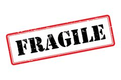 Fragile stamp. Text 'fragile' in uppercase black grunge letters in side a white rectangle outlined in red, white background royalty free illustration