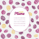 Text frame. Autumn plum backdrop. Endless harvest texture. Royalty Free Stock Image