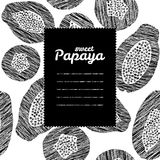 Text frame. Black and white. Endless papaya texture, repeating fruit texture. Royalty Free Stock Image