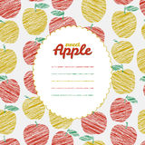 Text frame. Endless apple texture, repeating fruit background. Royalty Free Stock Image