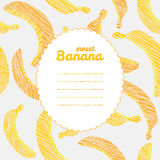 Text frame. Endless banana texture, repeating fruit background. Stock Images