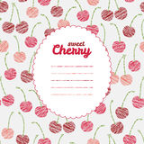 Text frame. Endless berry texture, repeating cherry background. Text frame. Repeating backdrop with scratched cherries. Summer harvest background. Endless Royalty Free Stock Photo