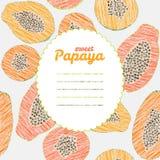 Text frame. Endless papaya texture, repeating fruit background. Royalty Free Stock Photos
