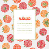 Text frame. Endless vegetable texture, repeating tomato background. Royalty Free Stock Images