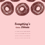 Text frame. 'Everything's better with donuts'. Donut illustration. Royalty Free Stock Photo