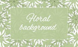 Text frame with floral ornament. Contour white pattern on green background. Spring flowers. Vector illustration.  vector illustration