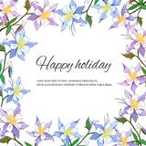 Text frame of gentle multicolored flowers. Flowers aquilegia. Spring design invitations, greetings and cards.  vector illustration