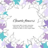 Text frame of gentle purple and white flowers. Spring set of floral patterns, for decorating cards. Text frame of gentle purple and white flowers. Spring set of vector illustration