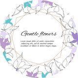 Text frame of gentle purple and white flowers. Spring set of floral patterns, for decorating cards. Text frame of gentle purple and white flowers. Spring set of stock illustration