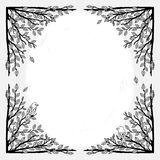Text frame with branches. Text frame with hand drawn branches, leaves and birds, page template with corner design Stock Photo