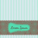 Text frame and invitation template turquoise strip Royalty Free Stock Images
