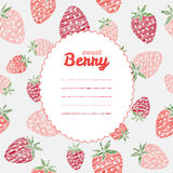 Text frame. Repeating berry background, seamless strawberry text Royalty Free Stock Photos