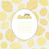 Text frame. Repeating fruit background, seamless lemon texture. Stock Image