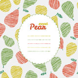 Text frame. Repeating pear background, seamless fruit texture. Seamless. Royalty Free Stock Image