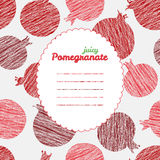 Text frame. Repeating pomegranate background, seamless fruit. Stock Photo