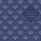 Text frame. Traditional Japanese Embroidery Ornament with fans. Traditional Japanese Embroidery Ornament with fans and place for your text. Sashiko motif fans ( Royalty Free Stock Photography
