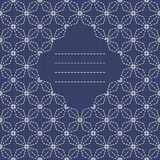 Text frame. Traditional Japanese Embroidery Ornament with rhombs. Stock Photos