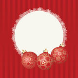 Text frame with white snowflakes border and three different Christmas balls with gold design. Vector Christmas card Stock Photography