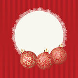 Text frame with white snowflakes border and three different Christmas balls with gold design. Vector Christmas card Stock Photos
